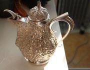 Серебряный антикварный заварной чайник/кофейник, серебро 800 пр.19 век.